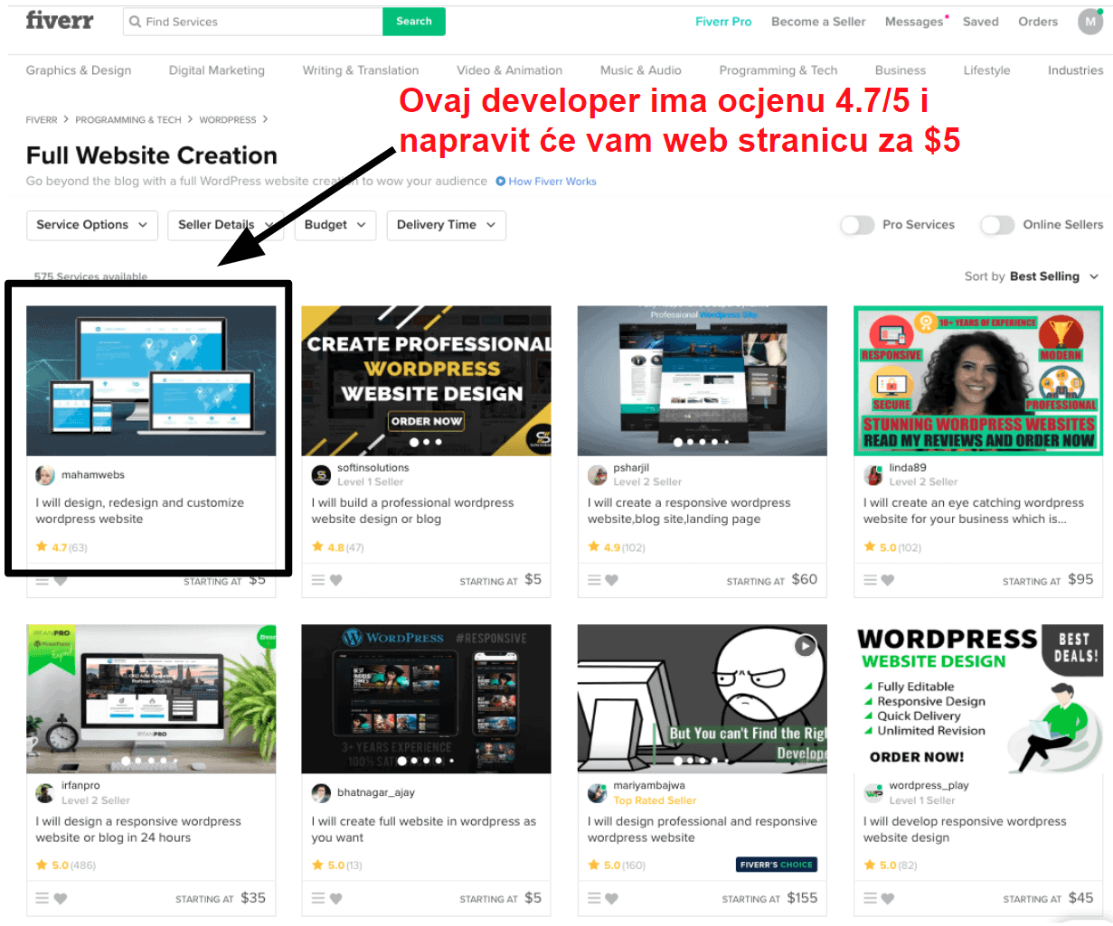 Low cost web developers on Fiverr HR25