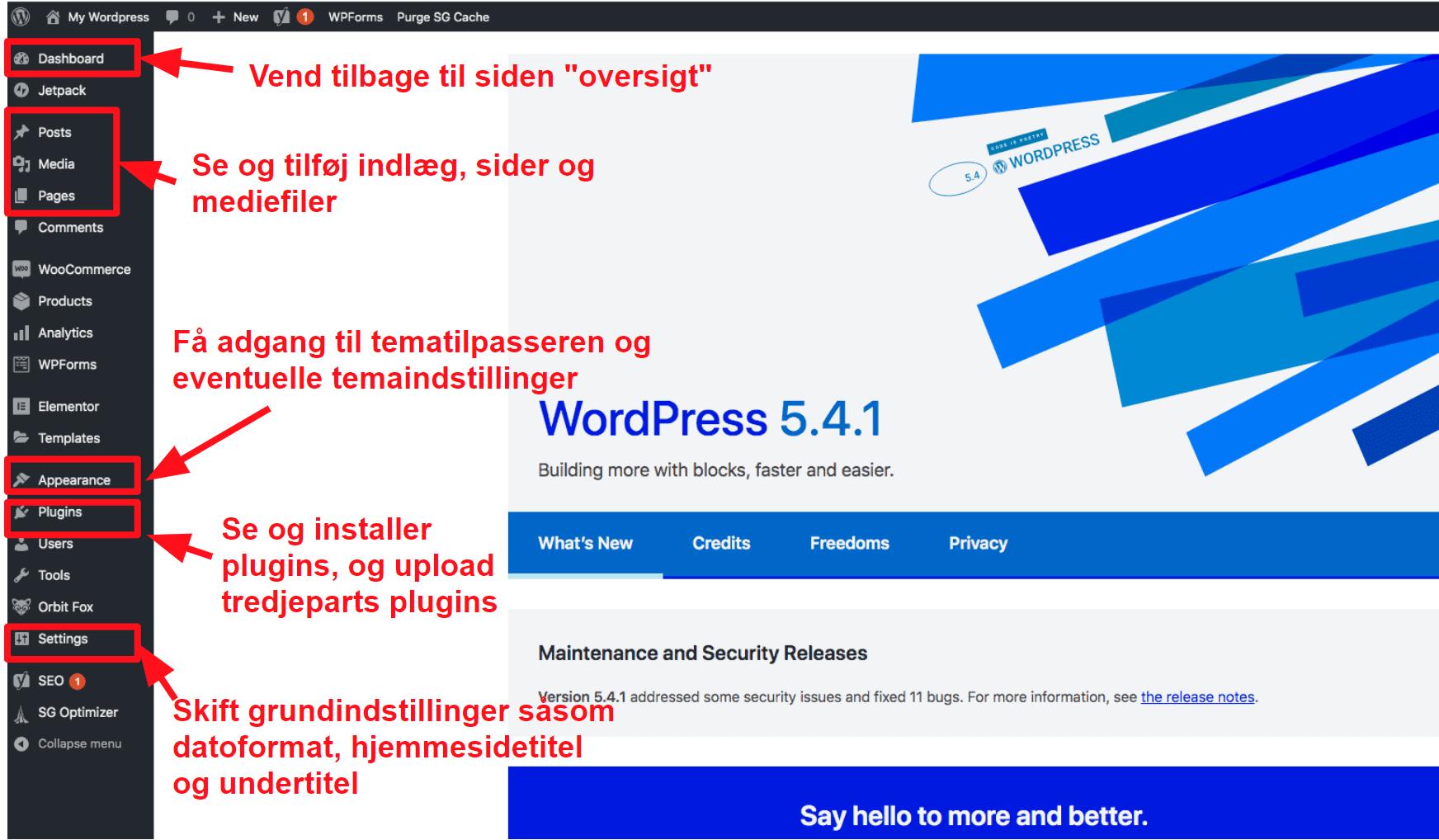 The WordPress dashboard DA16