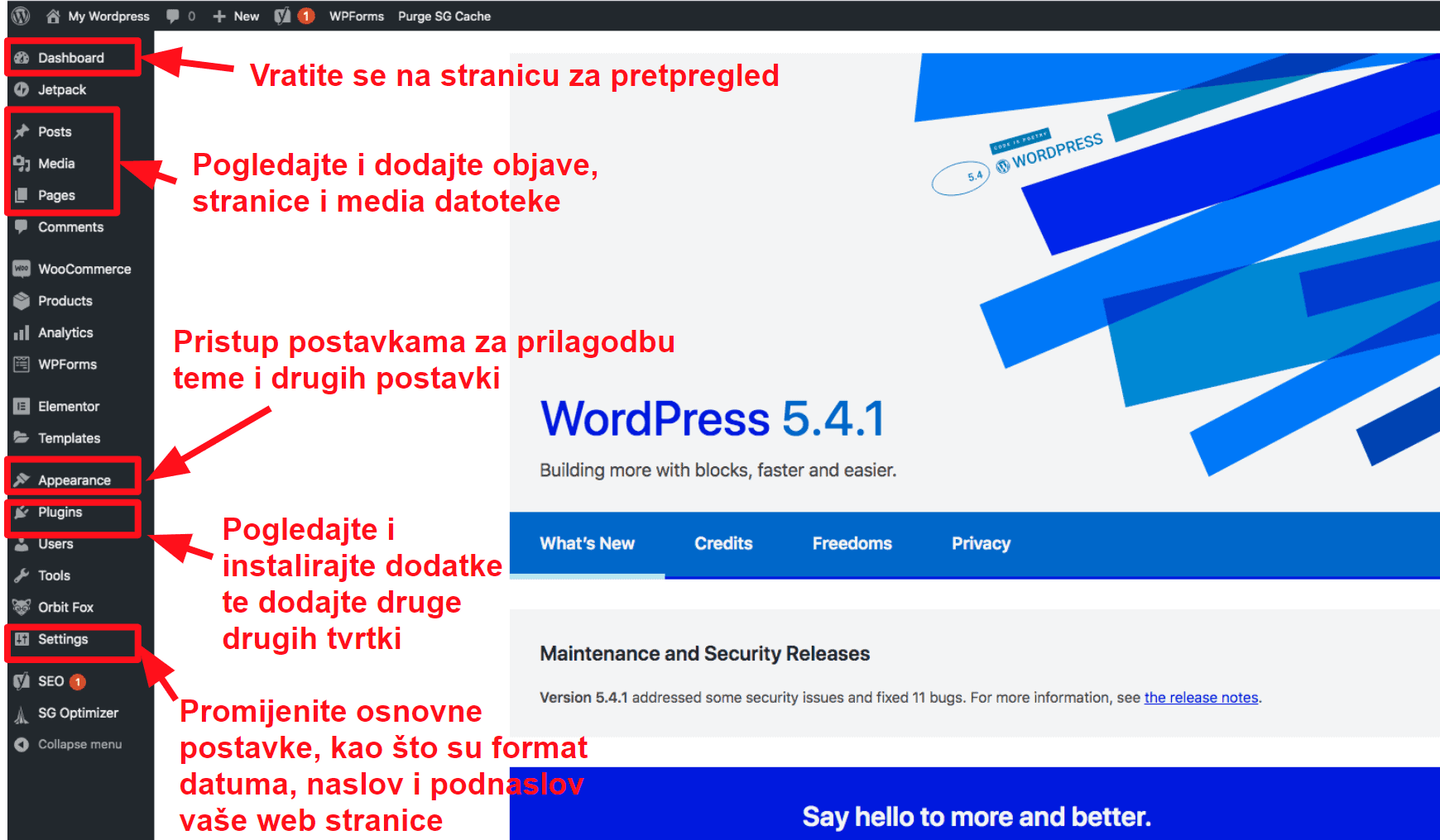 The WordPress dashboard HR16