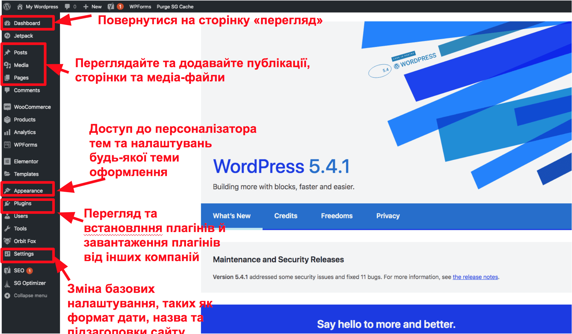 The WordPress dashboard UK16