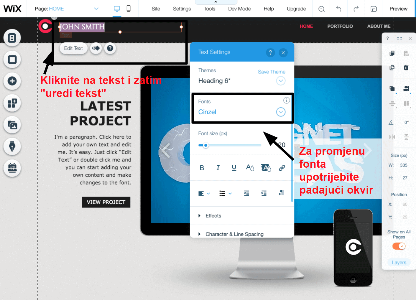 Wix changing fonts HR2