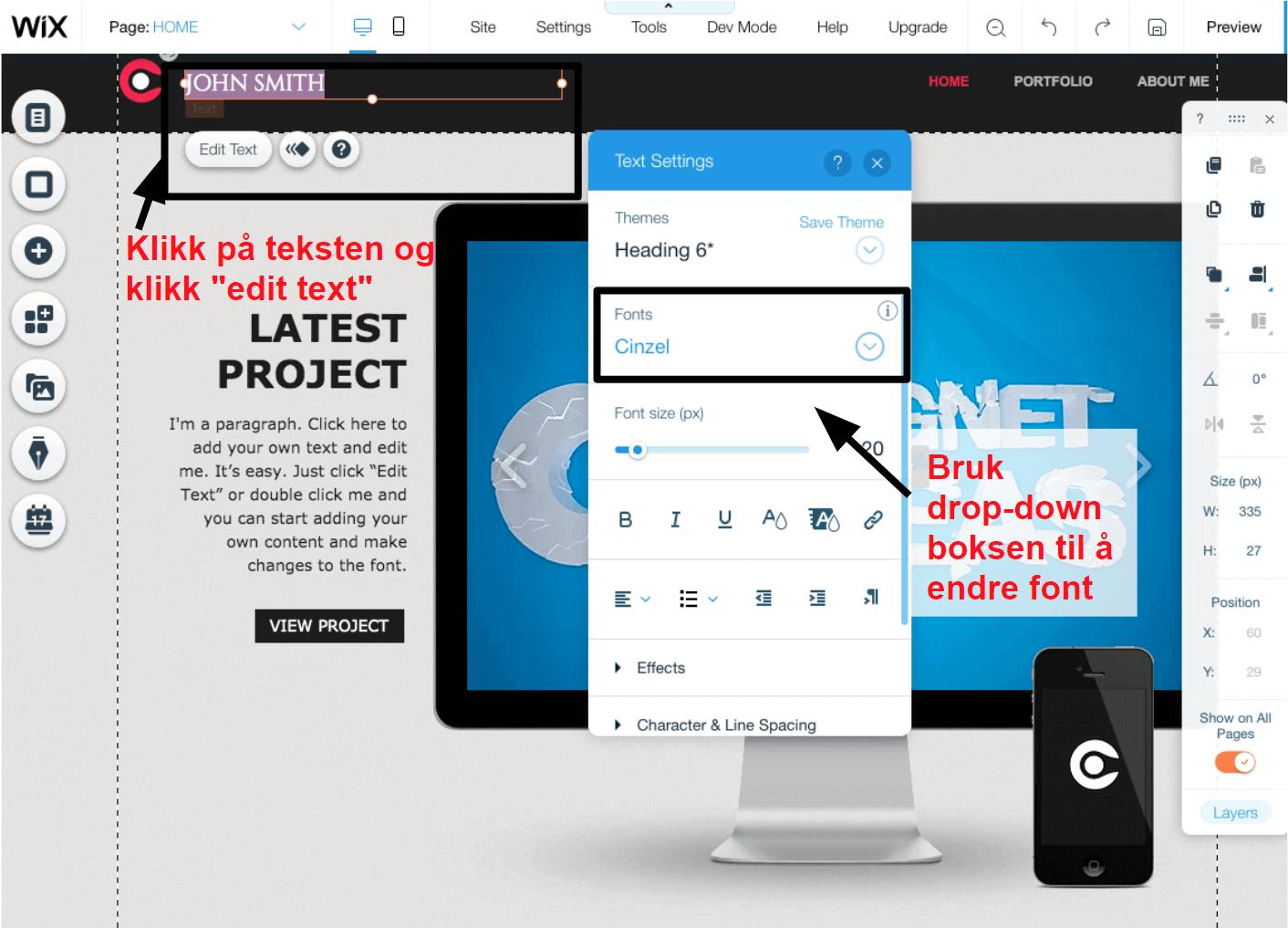 Wix changing fonts NB2