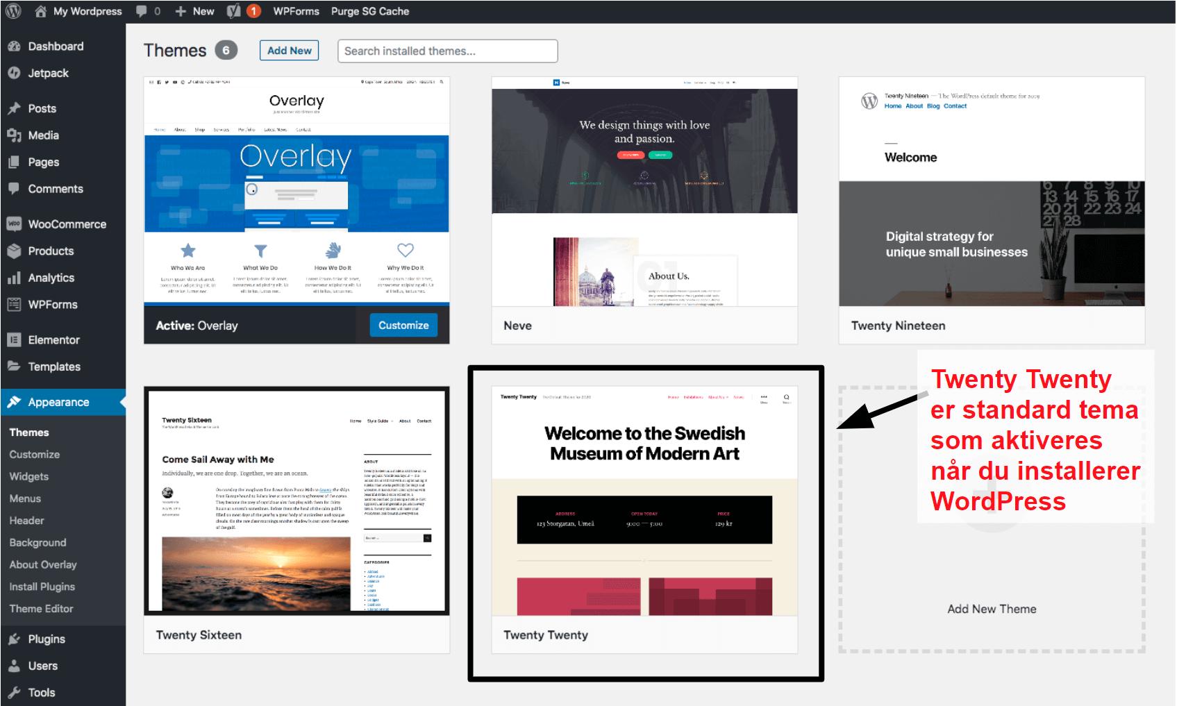 WordPress themes panel NB17
