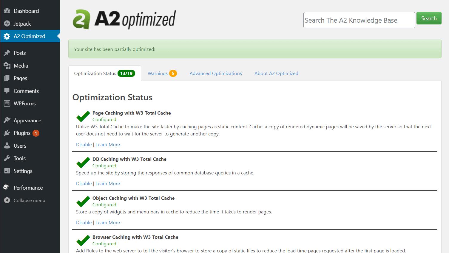 A2 Optimized plugin dashboard