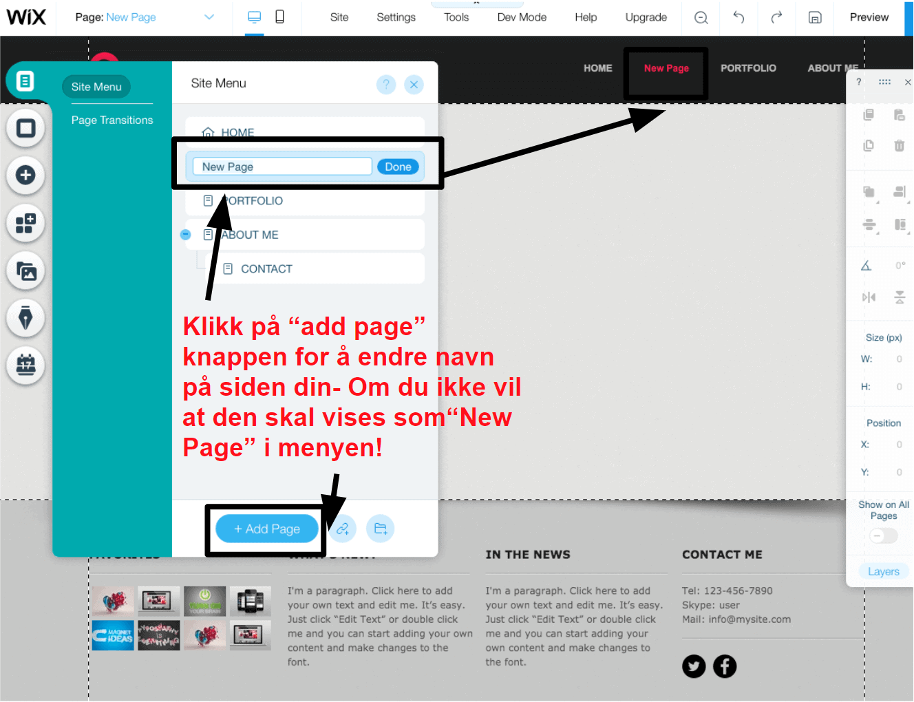 adding new pages in wix NB8