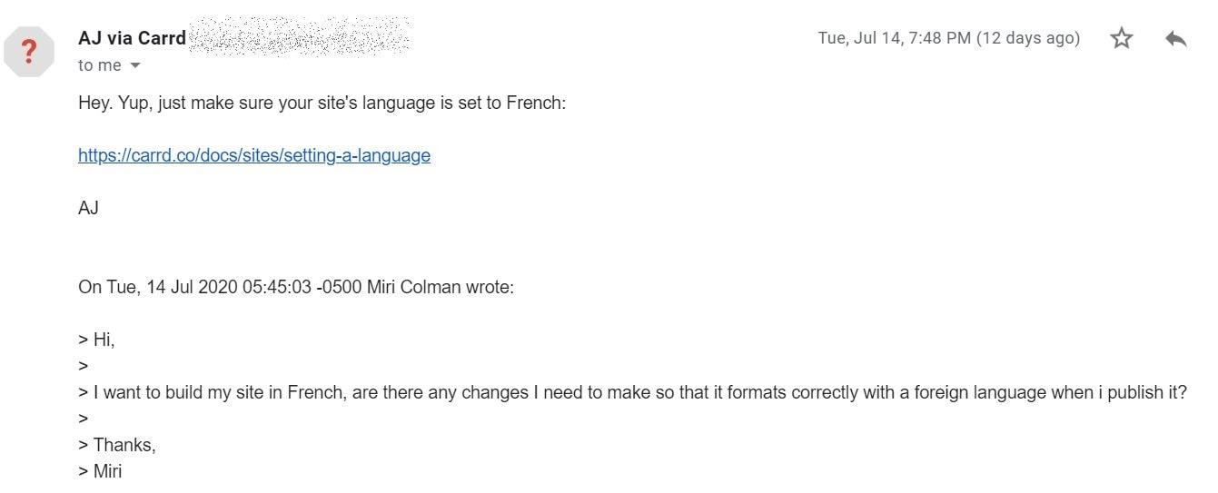 Carrd's customer service response