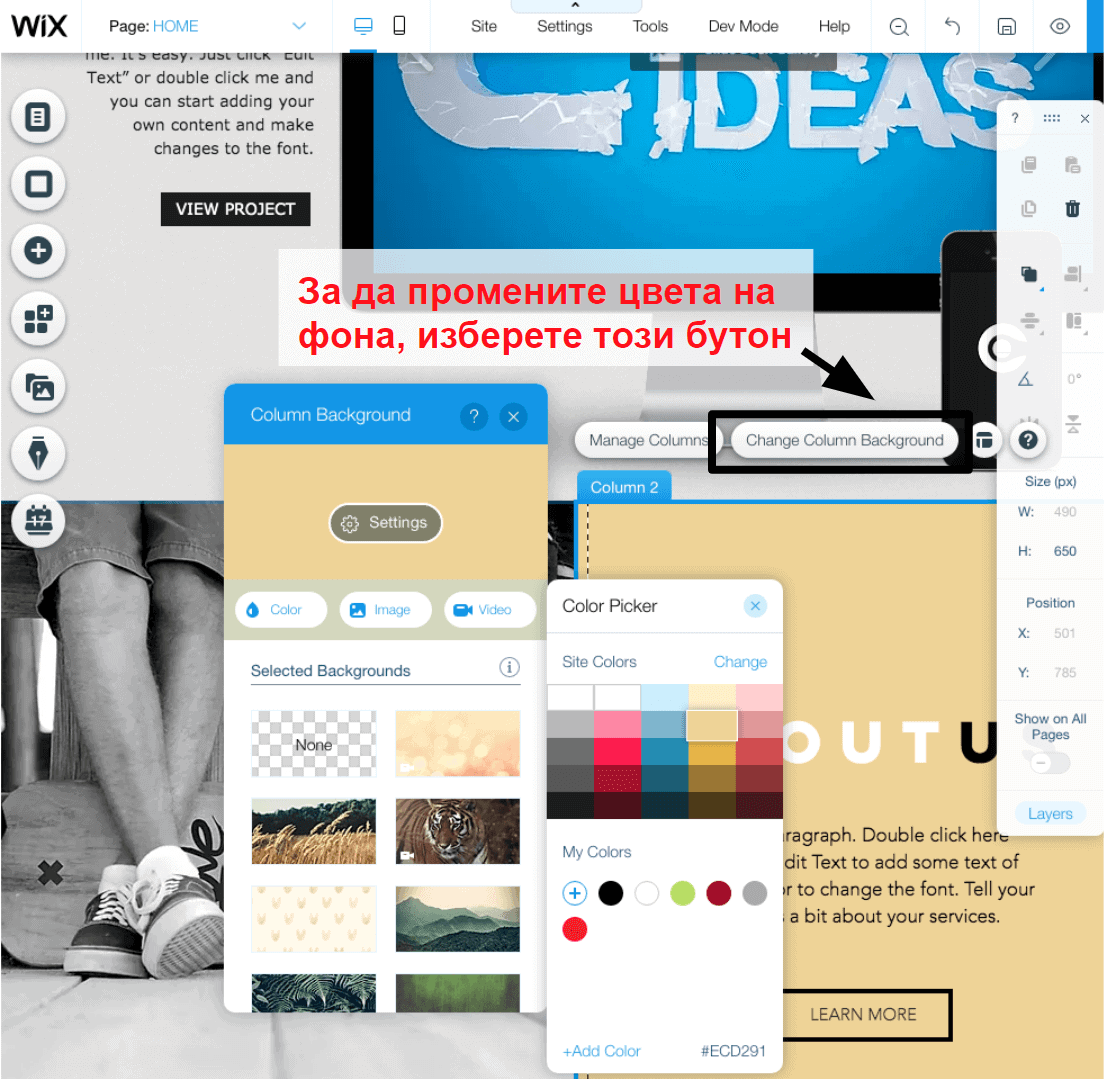 changing colors in the Wix editor BG3