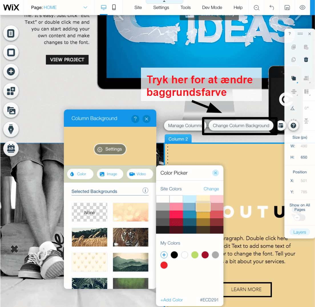 changing colors in the Wix editor DA3