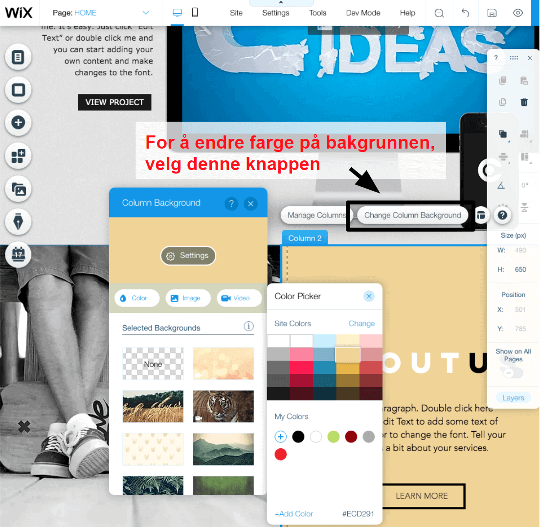 changing colors in the Wix editor NB3