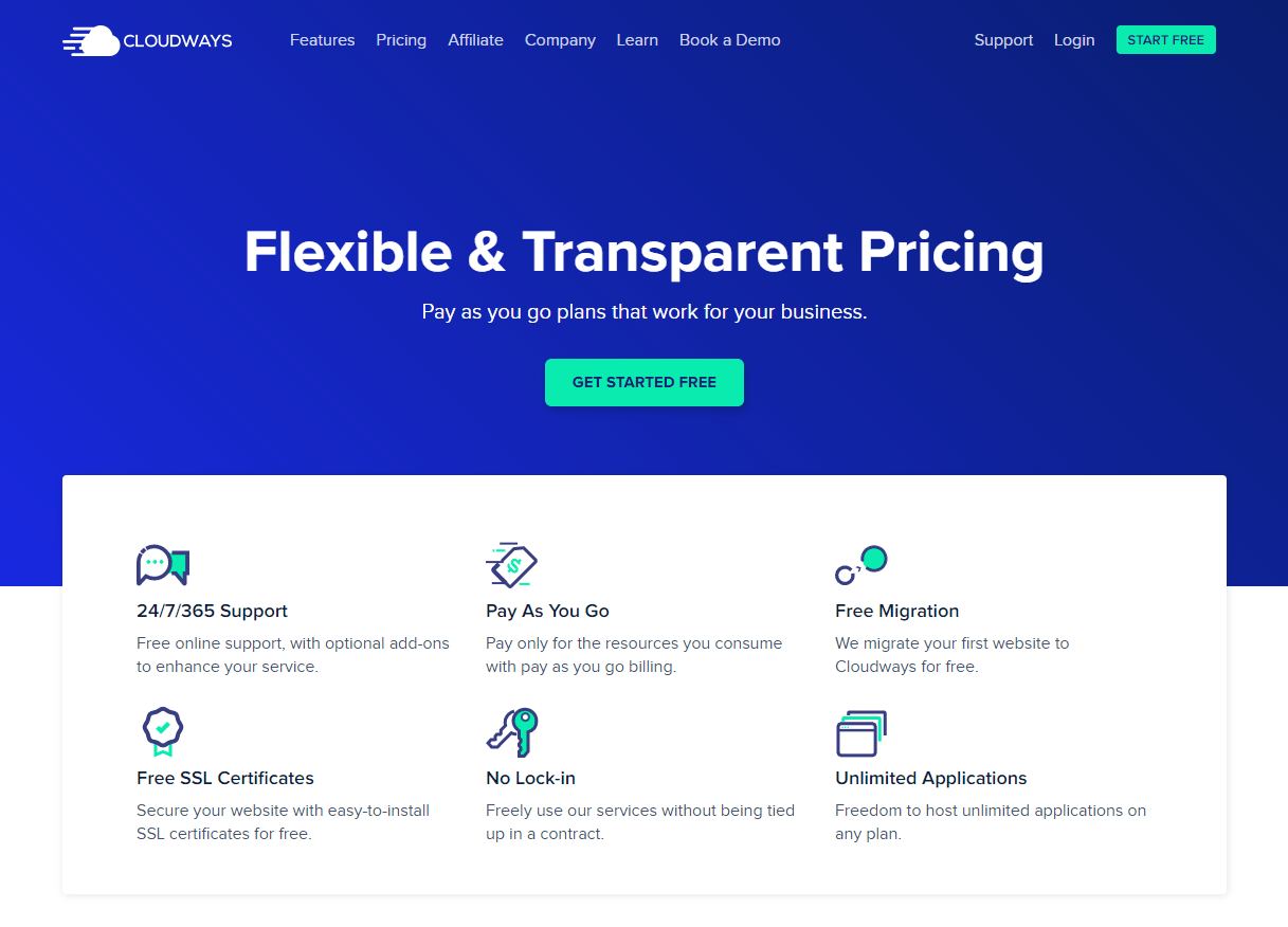 the Cloudways home page