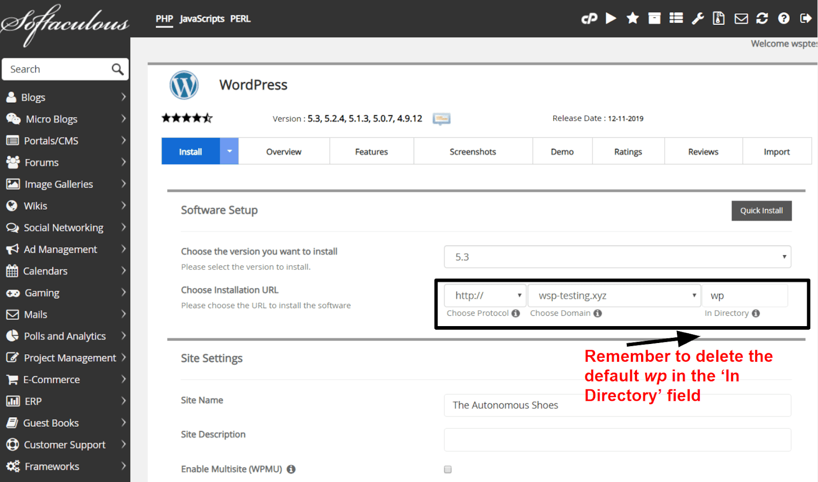 InterServer - WordPress installation