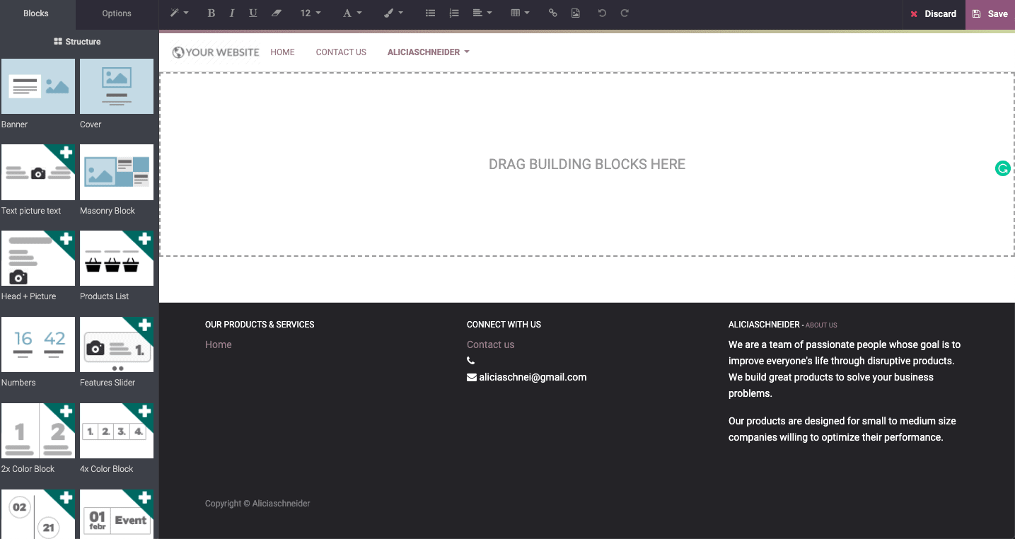 Odoo's drag-and-drop editor