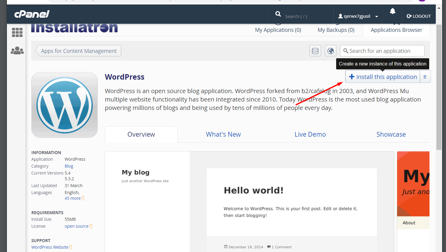 Installatron WordPress installation