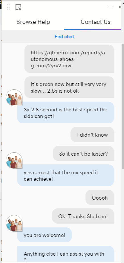 The maximum GoDaddy speed, apparently