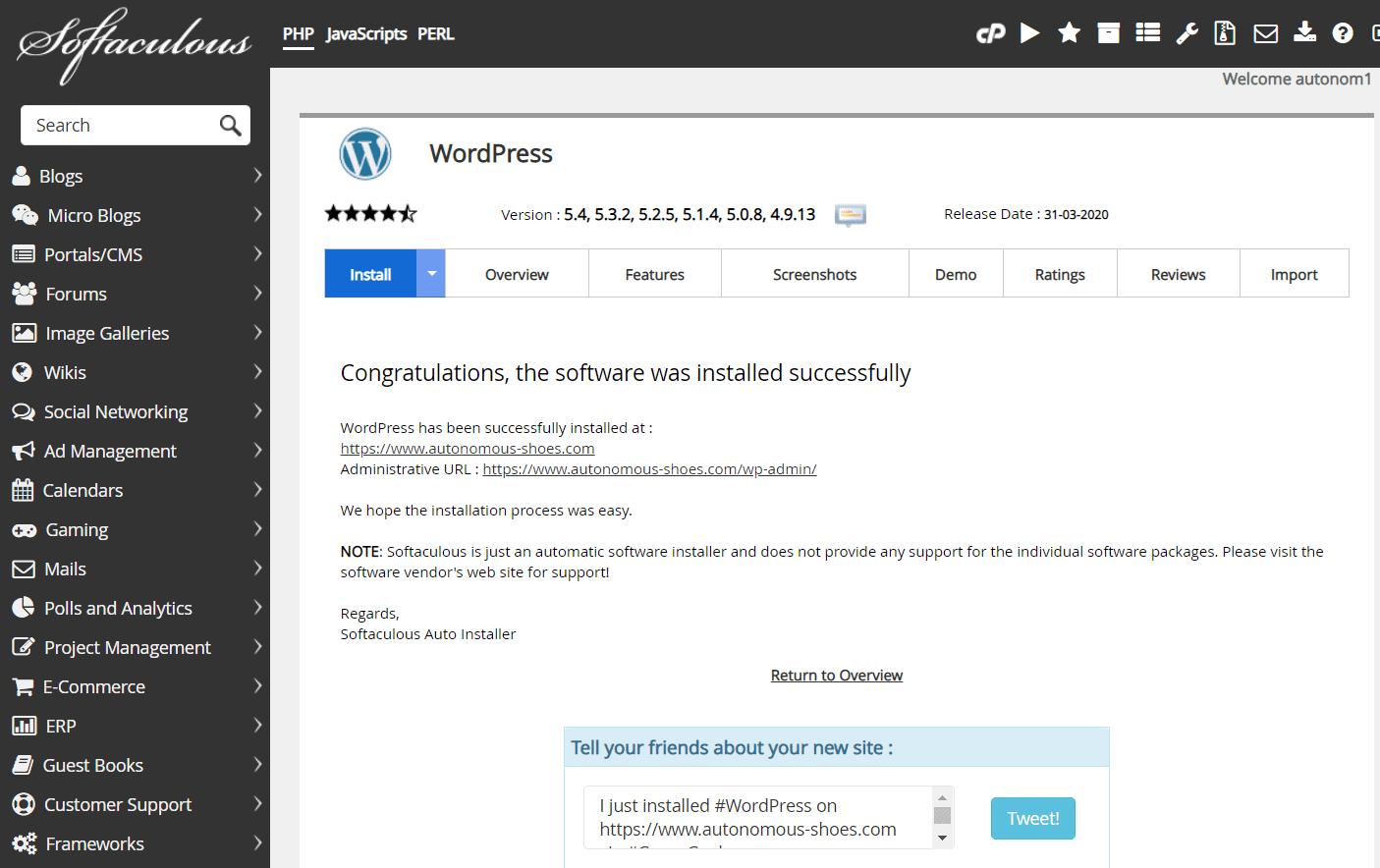 a successful WordPress installation