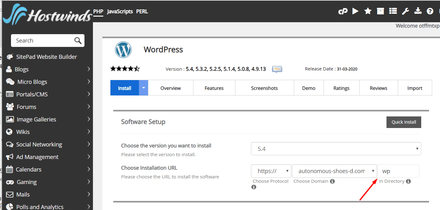 WordPress installation details