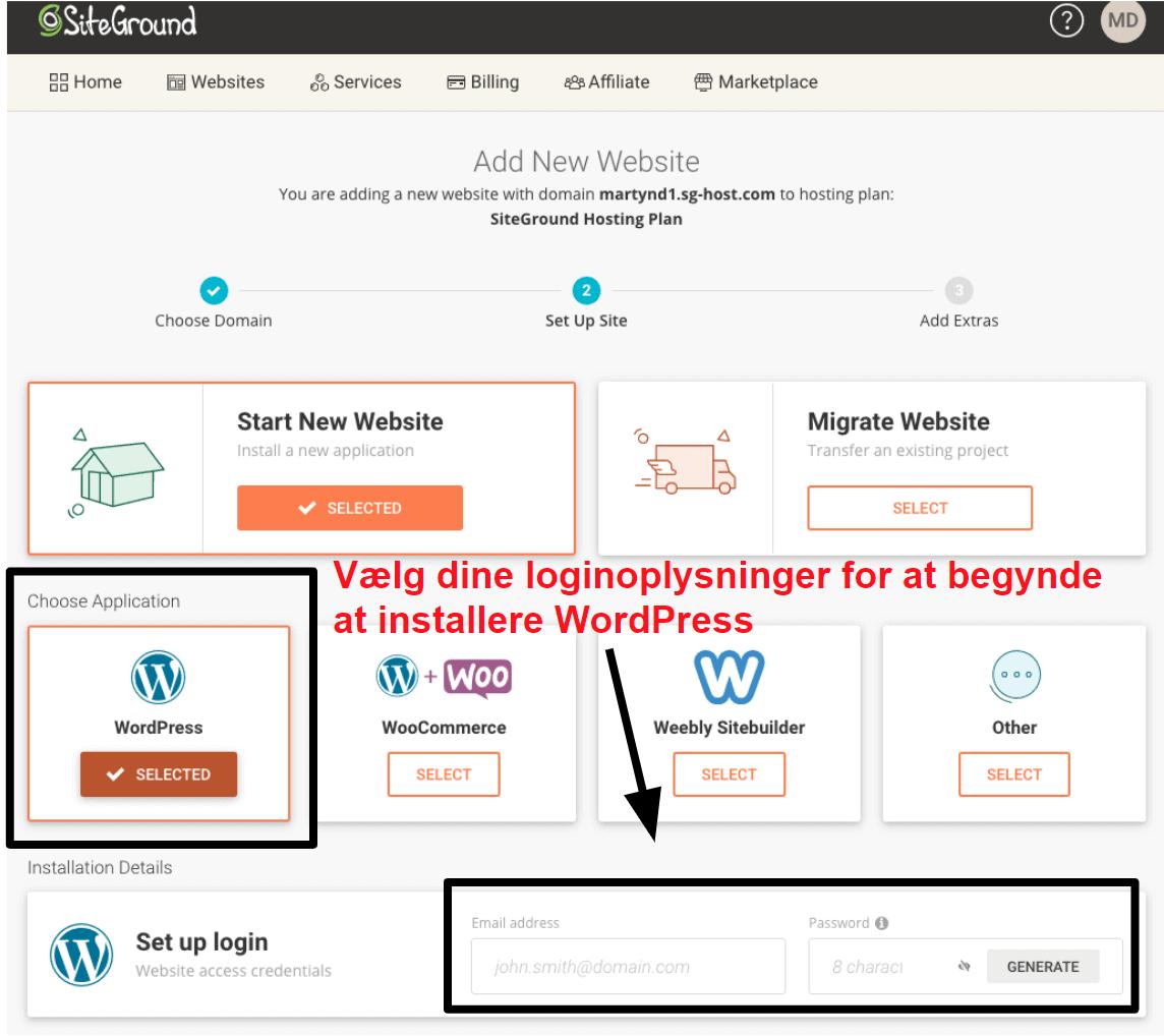 installing wordpress via siteground DA14