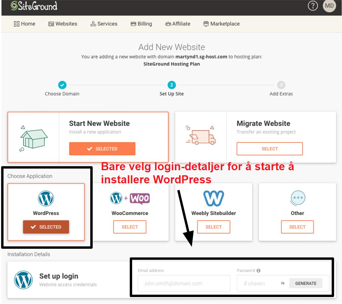 installing wordpress via siteground NB14