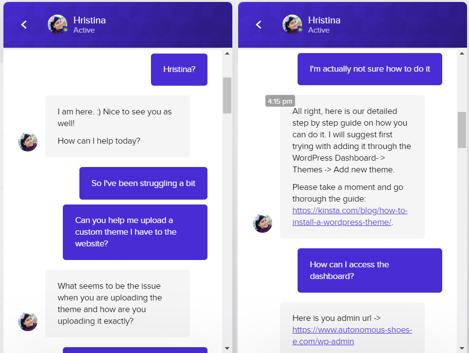 Kinsta live chat tech support