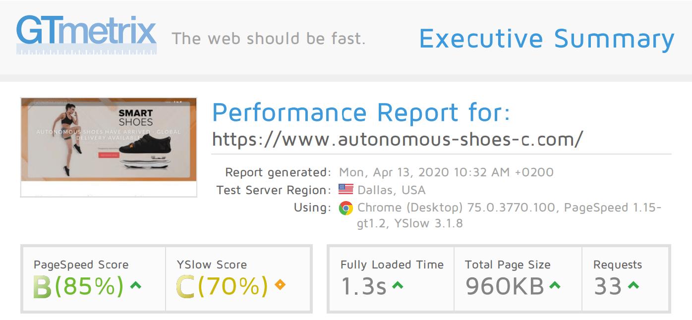 GTmetrix results for Liquid Web
