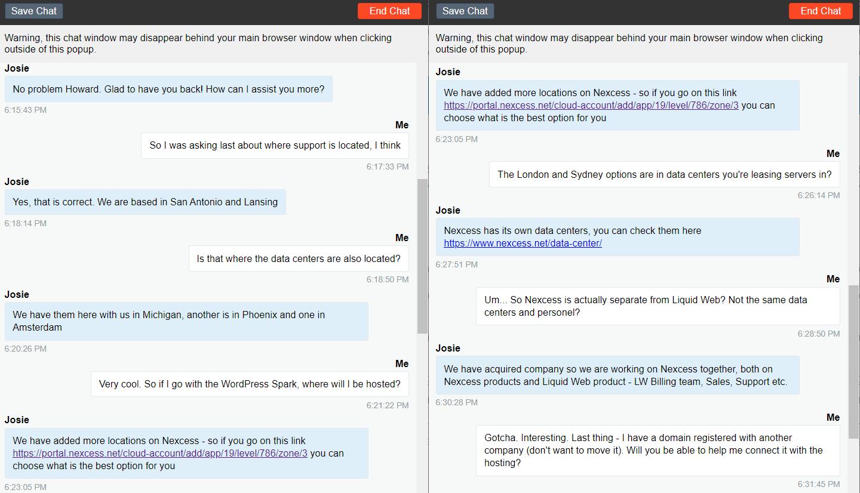 Liquid Web's presales chat