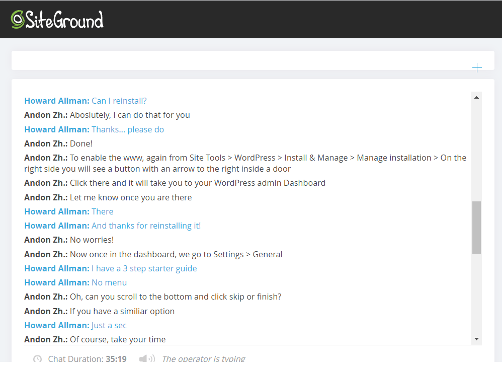 SiteGround live chat support 2