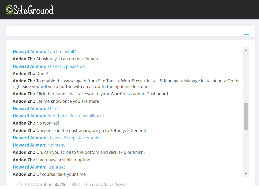 SiteGround live chat support 3