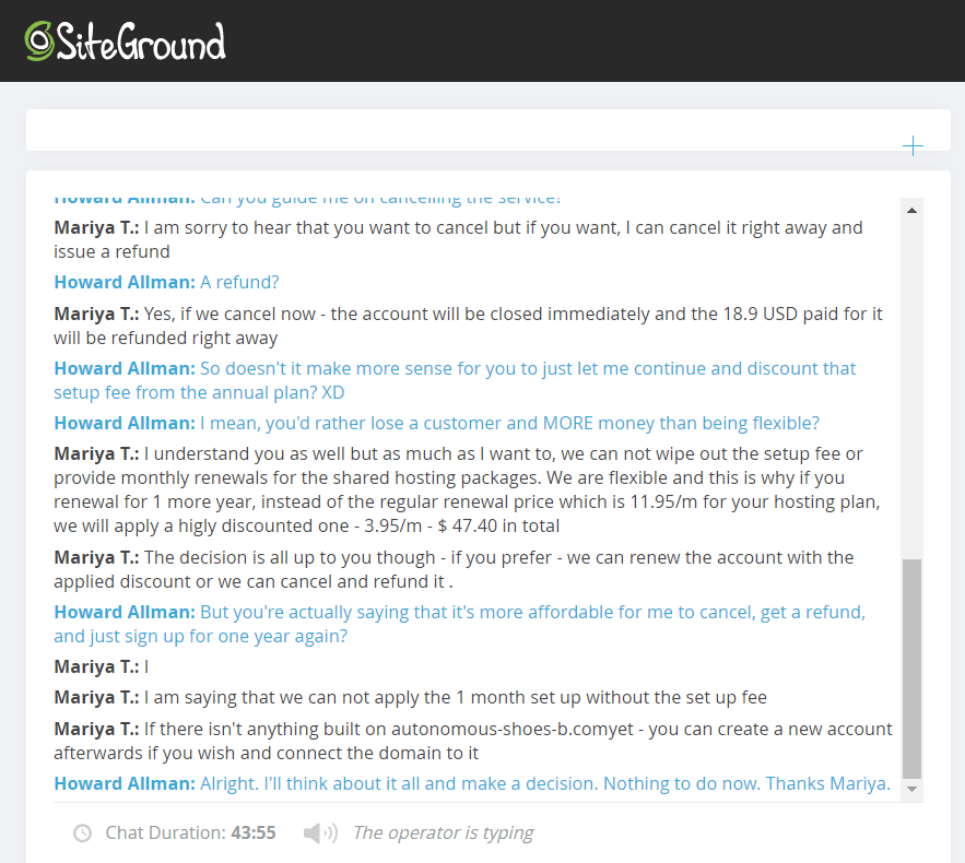 SiteGround live chat support 4