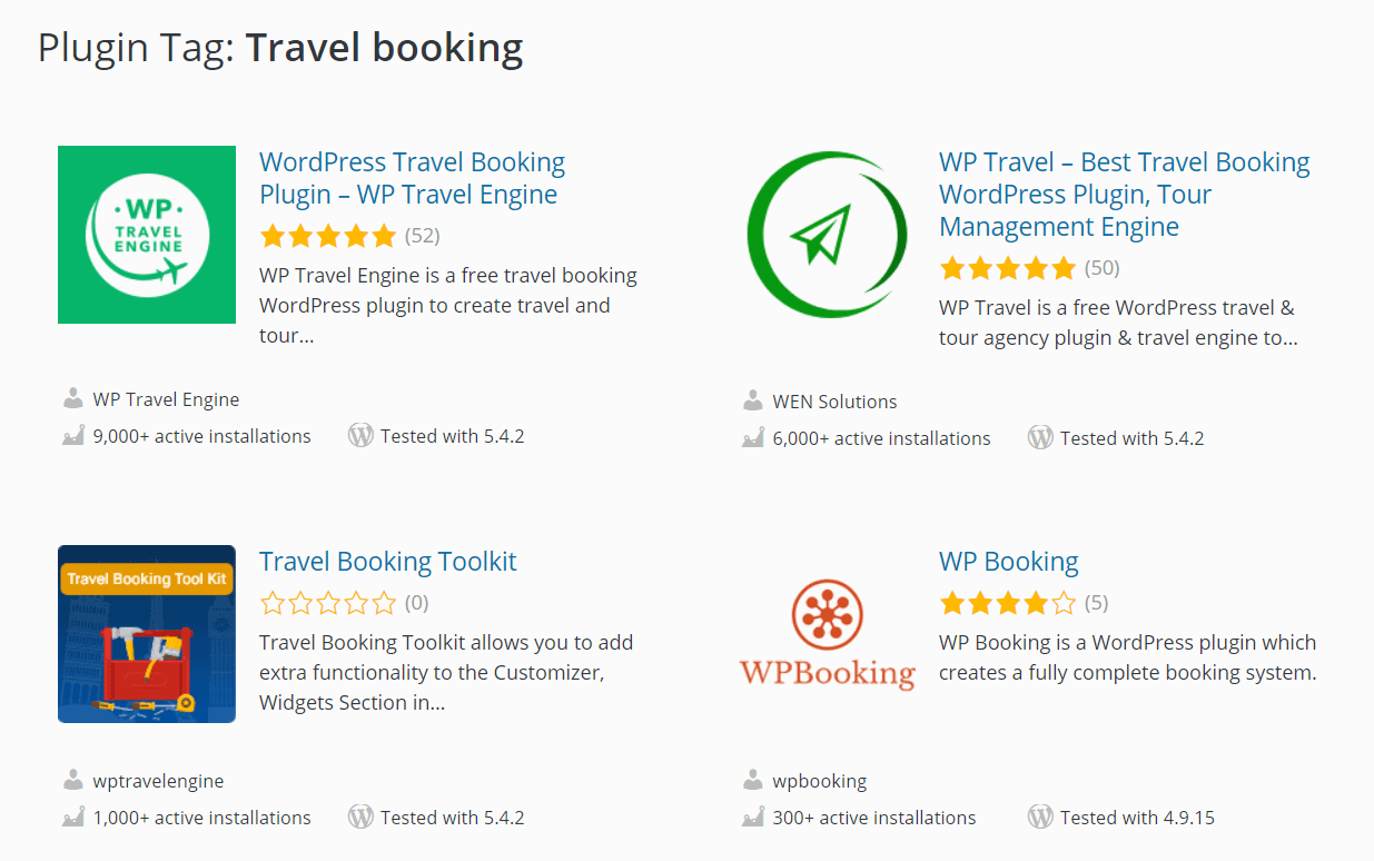 The travel booking plugins offered by WordPress.com