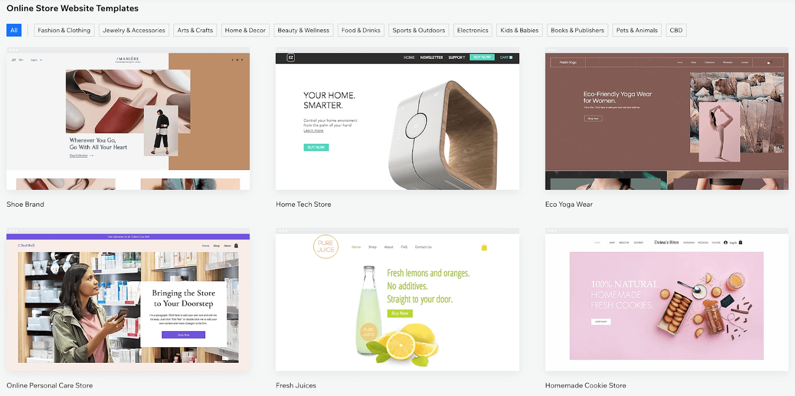 Wix e-commerce templates