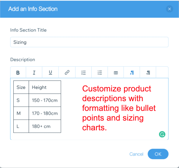 Product description customization options - Wix