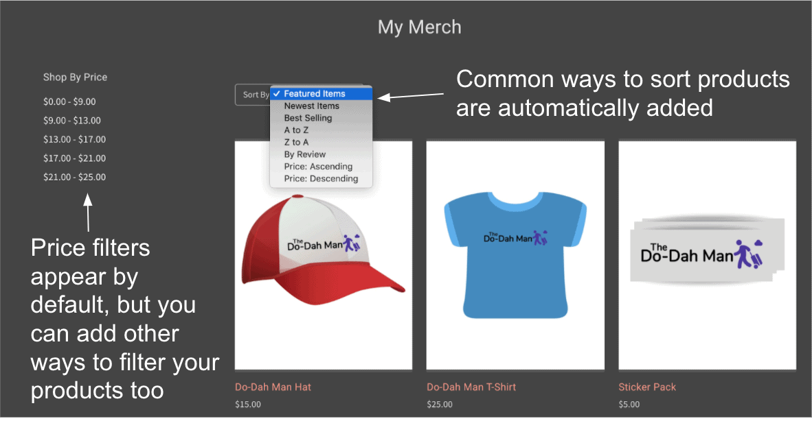 Automatic product sort and filter options - BigCommerce