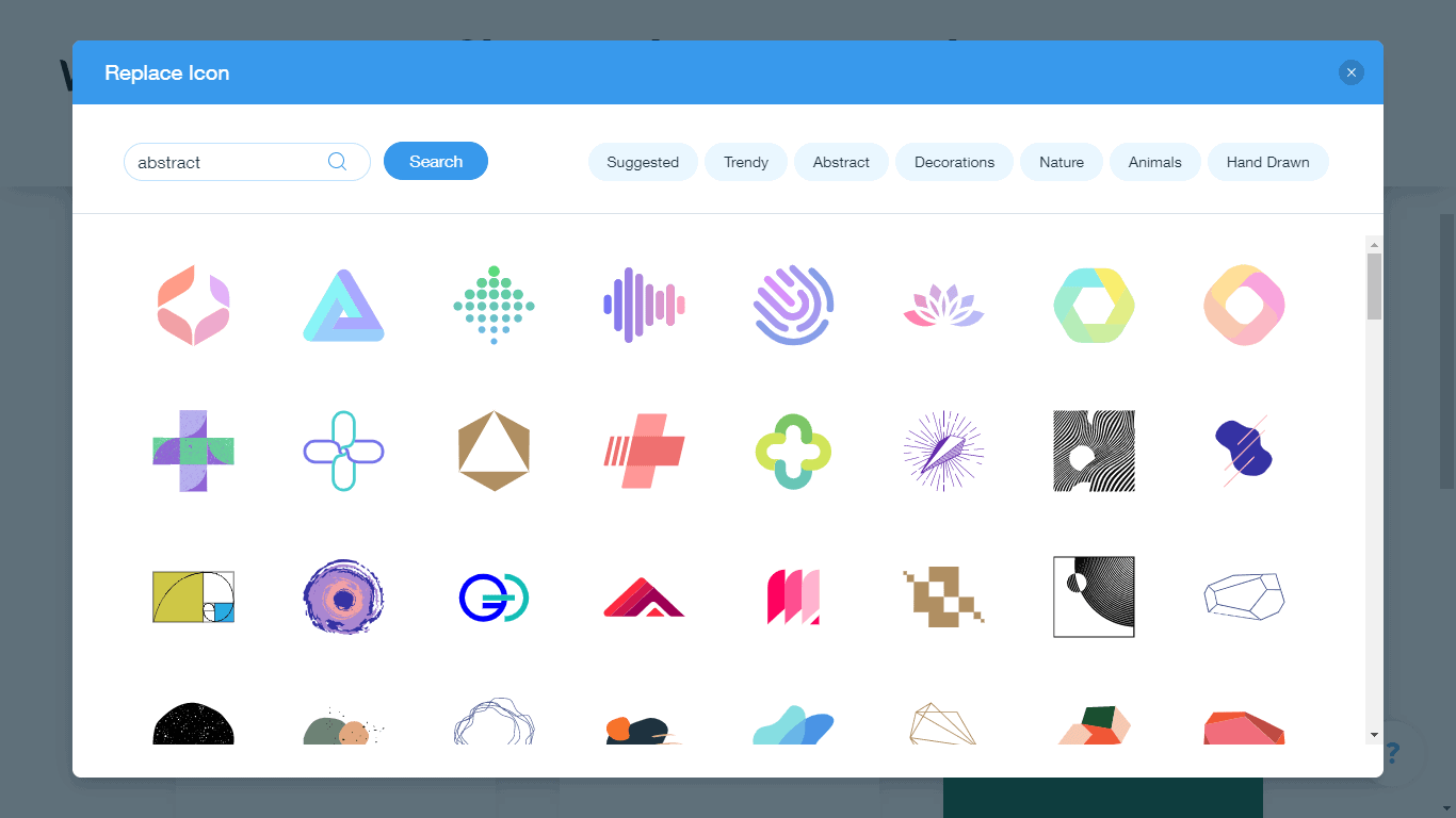 Wix Logo Maker screenshot - abstract icons