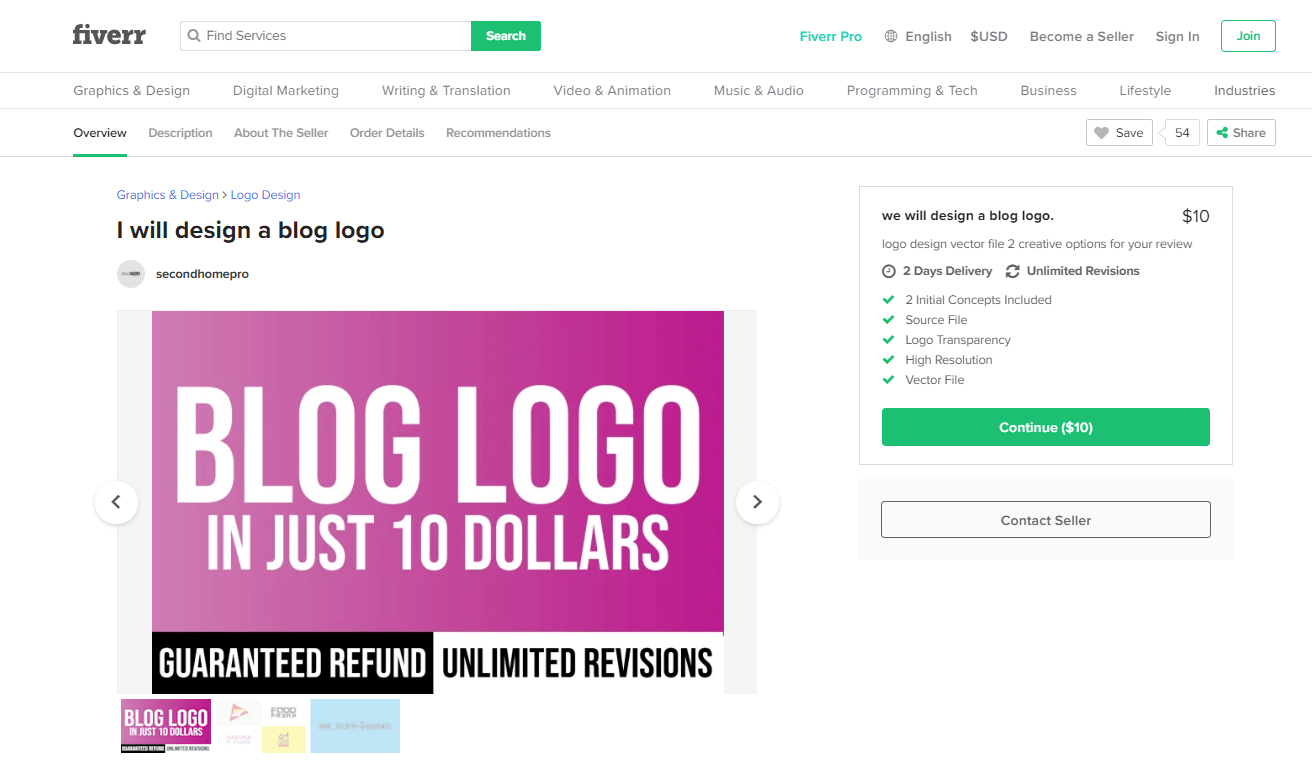 Fiverr screenshot - Package overview