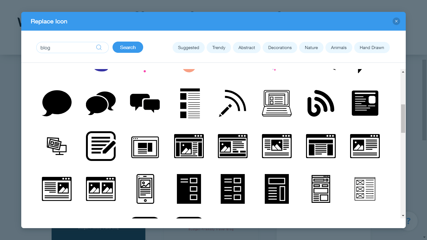 Wix Logo Maker screenshot - Blog icons