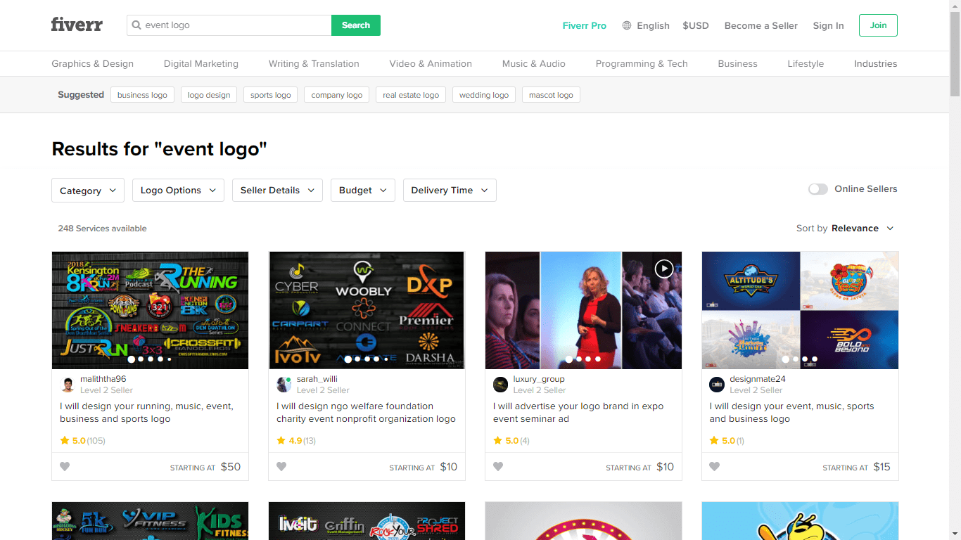 Fiverr screenshot - Event logo designers