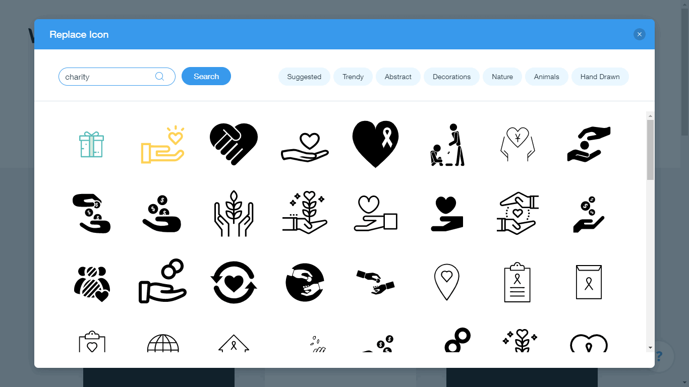 Wix Logo Maker screenshot - Charity icons